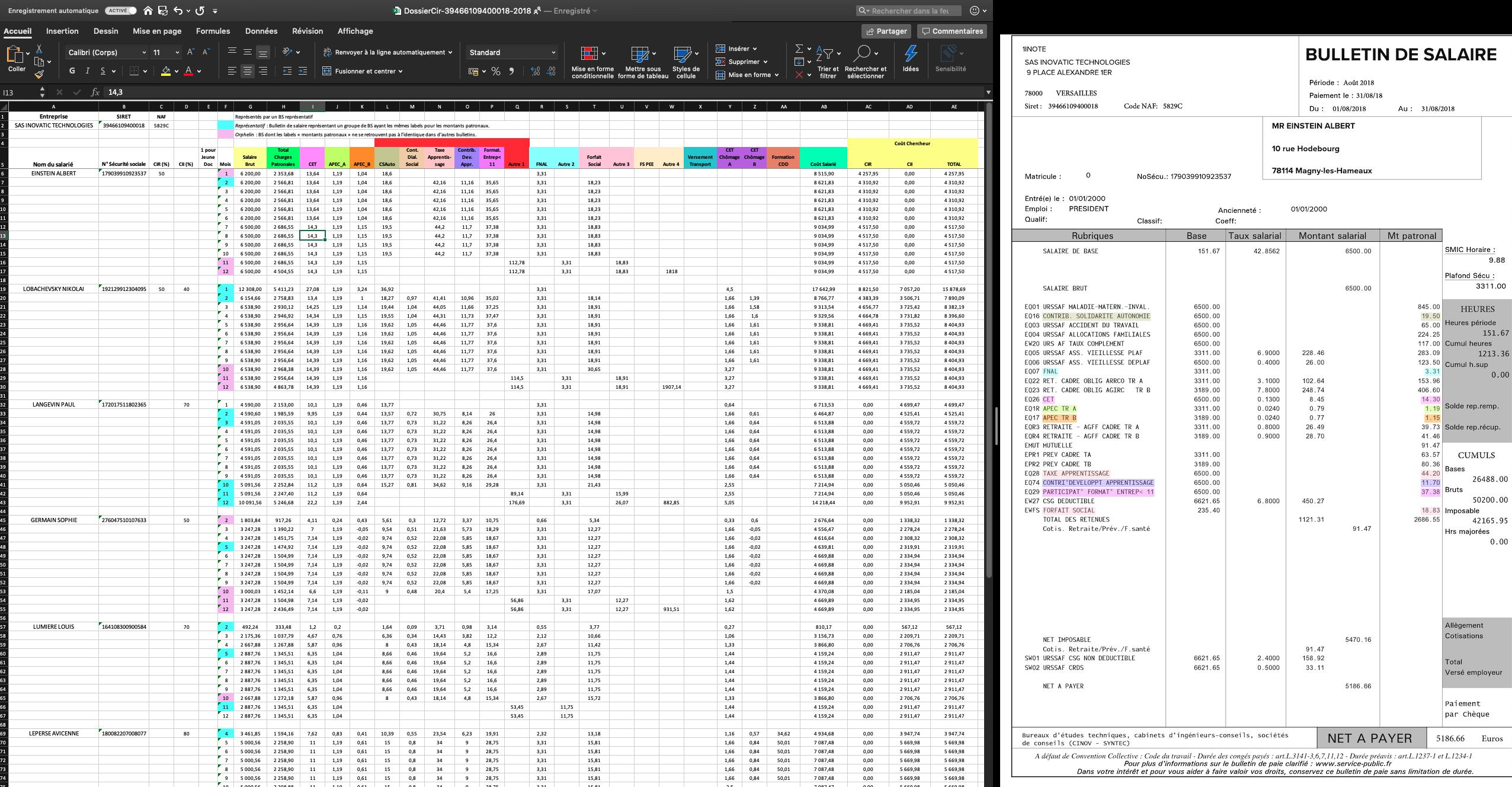 Tableau de résultat InovaCir, Calcul des coûts salariaux réalisé en moins de 3 minutes